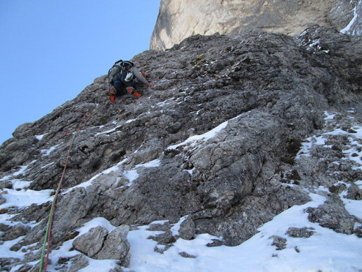 Langkofel Esposito - Butta, first winter ascent in the Dolomites by Giorgio Travaglia and Alex Walpoth