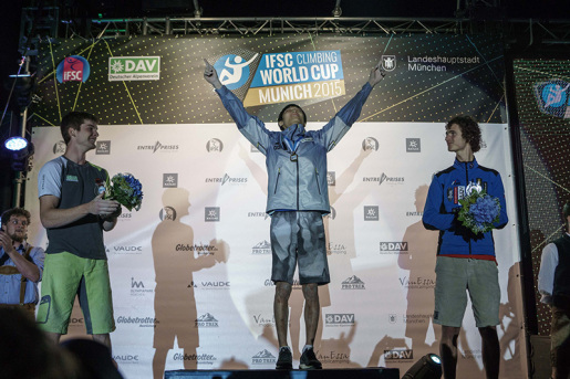 Akiyo Noguchi and Jongwon Chon win Bouldering World Cup 2015