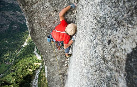 King of the Bongo on Qualido in Val di Mello climbed by Marazzi, de Zaiacomo and Schiera