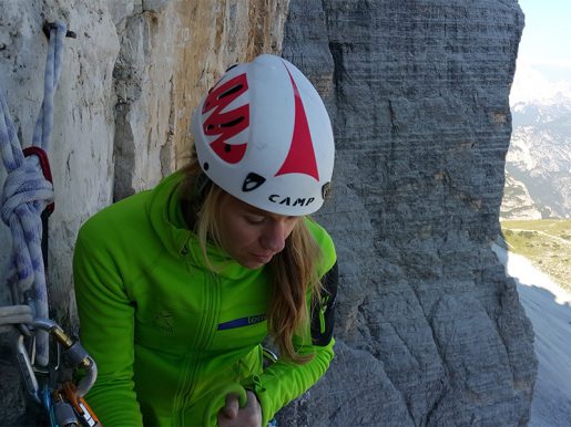 Maja Vidmar and her first multi-pitch climb in the Dolomites