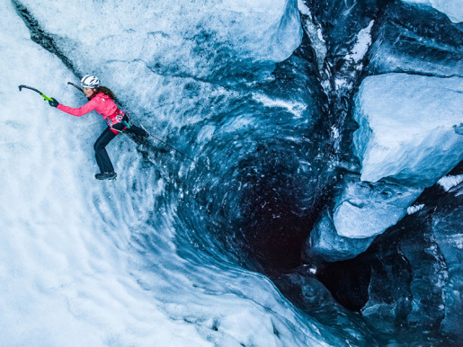 Klemen Premrl and Rahel Schelb climbing ice in the Iceland Trifecta