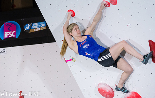 Shauna Coxsey and Rustam Gelmanov win Kazo stage of Bouldering World Cup 2016