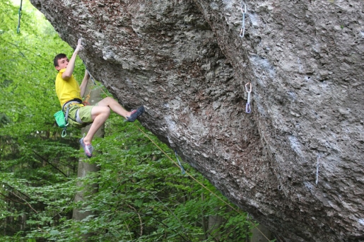 Stefano Carnati climbs Action Directe in the Frankenjura