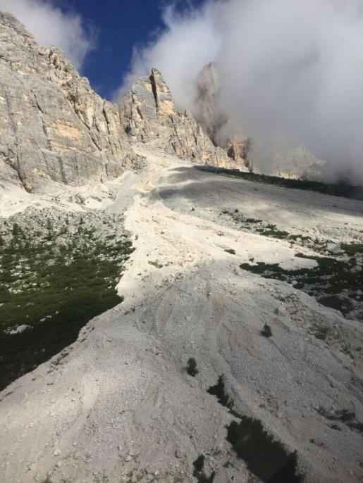 Smottamenti alle pendici del Monte Pelmo, Dolomiti