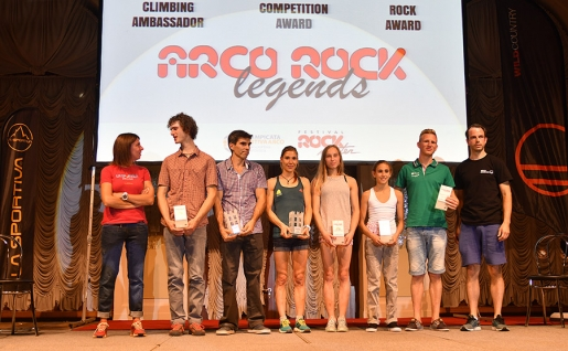 Arco Rock Legends 2016 awarded to Daniel Andrada, Mina Markovič and the IFSC