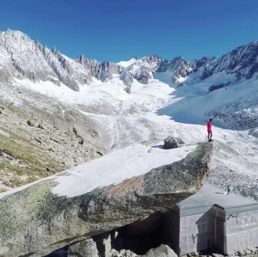 Kilian Jornet Burgada above Refuge du Couvercle, Mont Blanc