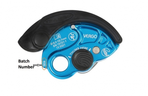 Voluntarily recall Trango Vergo belay devices batch numbers 16159 and 16195