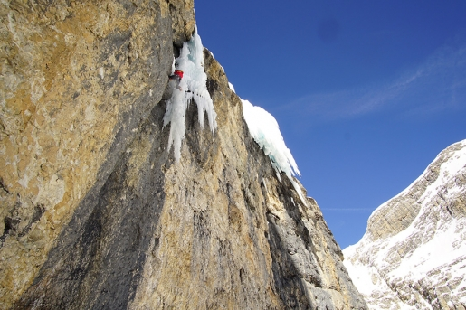 New ice and mixed climb in Val Lasties, Dolomites