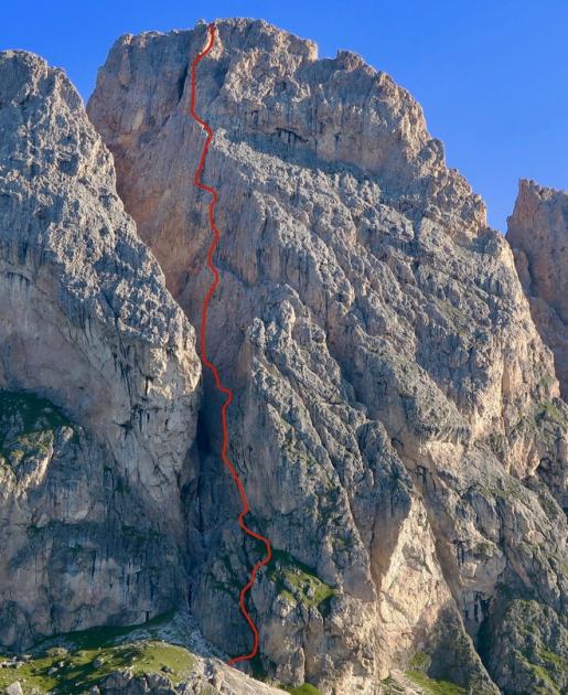 Uein Line, new rock climb up Große Fermeda in Geisler Dolomites