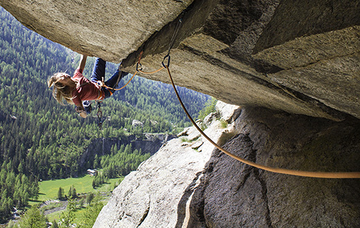 Federica Mingolla climbs old projects in Valle dell'Orco, Italy