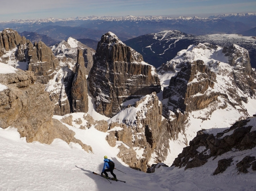 Brenta Dolomites Cima Tosa East Face ski descent by Luca and Roberto Dallavalle