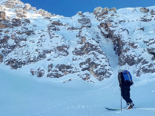 New Brenta Dolomites steep ski descent down Monte Fibion