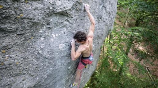 Adam Ondra attempting Becoming, Markus Bock's Frankenjura extreme