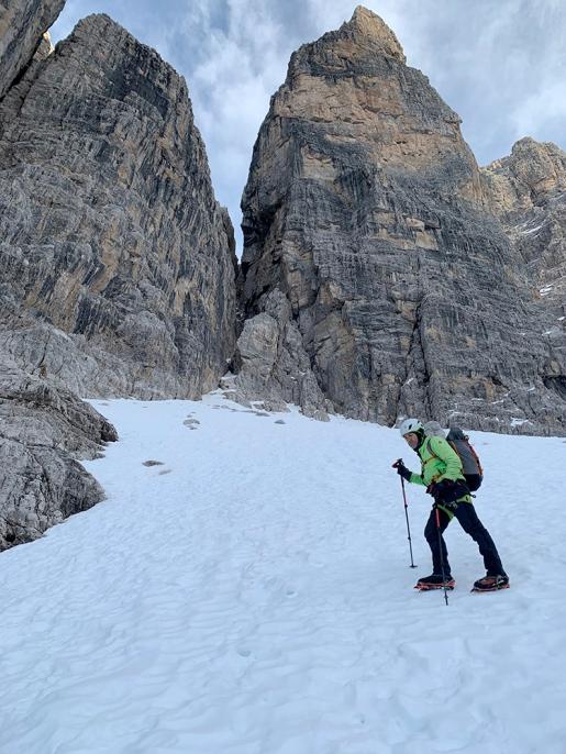 Campanile Basso e il Canalone Ovest nelle Dolomiti di Brenta