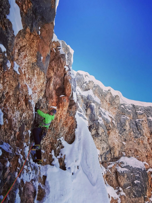 Sorejina at Sennesspitze in the Dolomites climbed by Manuel and Simon Gietl