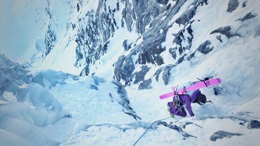 Gold Card Couloir first ski descent in Canada by Brette Harrington, Christina Lustenberger, Andrew McNab