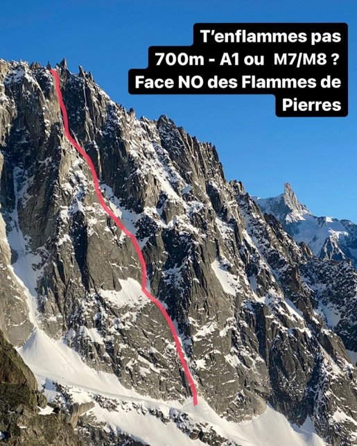 T'enflammes pas, new mixed climb on Flammes de Pierre in Mont Blanc massif