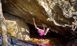 Michele Caminati and his boulder problem Ultimo dei Moicani at Amiata