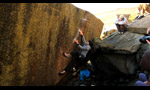 Paul Robinson climbing Brad Pitt and The Ace at Stanage