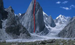 Mauro Bole climbs Women and chalk on Shipton Spire East Face, Trango, Pakistan