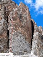 Spigolo Sam, new climb on Tofana di Rozes by Massimo Da Pozzo