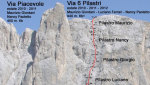 Via dei 6 Pilastri, new route on the Marmolada by Giordani, Ferrari and Paoletto