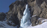 Ice climbing in Valeille valley, Valle d'Aosta, Italy