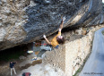 Spain climbing action: Chris Sharma at Margalef, Geoffray De Flaugergues at Alquezar