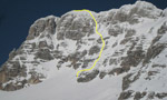 Jof di Montasio South Face, first ski descent of by Luca Vuerich