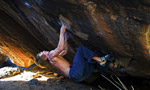 Nalle Hukkataival 8B flash at Hueco Tanks on Crown of Aragorn