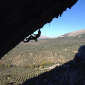 Daniel Andrada climbs Chilam Balam at Villanueva del Rosario in Spain