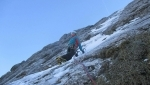 All-in, difficult new ice and mixed climb on Sas del Pegorer in the Dolomites