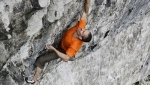 Steve McClure frees Rainman at Malham Cove, Britain's first 9b