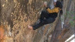 Charles Albert climbs Monkey Wedding 8C barefoot at Rocklands