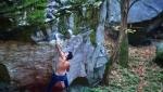 Luca Rinaldi 8B boulder flash at Brione in Switzerland