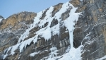 Dani Arnold free solo climbs Beta Block Super icefall up Breitwangfluh in Switzerland
