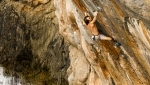 Chris Sharma climbing Alasha, his difficult Deep Water Solo at Mallorca