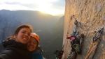 Nina Caprez and Eline Le Menestrel climbing The Nose, El Capitan