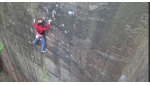 Steve McClure climbing GreatNess Wall E10 trad at Nesscliffe