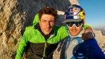 Marmolada climb & paraglide, the flight video of Aaron Durogati, Mirco Grasso