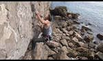 Dave Birkett E9 repeat at St Govan's Head, Pembroke, Wales