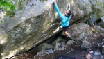 Oriane Bertone at Fontainebleau frees her first 8C boulder problem