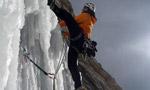 Cascata Per Leo, rare icefall on Sorapiss, Dolomites