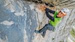 Rolando Larcher apre Zigo Zago in Val d'Ambiez, Dolomiti di Brenta