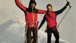 Paraclimbers Massimo Coda, Andrea Lanfri summit Mont Blanc
