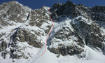 Col du Brouillard, first descent of SW Couloir