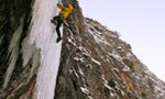 Papillon, 1st repeat of the great icefall at Brissogne, Valle d'Aosta