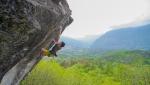 Gianluca Vighetti (12) climbs TCT 9a at Gravere, Italy