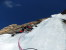 Beppe on the final pitch of Psyco Killer, Tofana di Rozes, Dolomites (Beppe Ballico, Andrea Gamberini & Marco Milanese 12/01/2013)