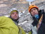 Andrea and Beppe, with Marco abseiling in the background on Psyco Killer, Tofana di Rozes, Dolomites (Beppe Ballico, Andrea Gamberini & Marco Milanese 12/01/2013)